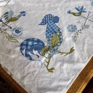 Vintage Oblong Plaid Rooster Tablecloth